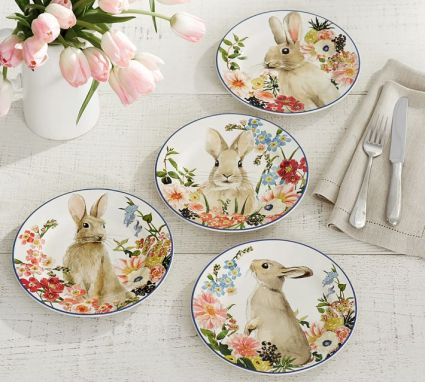 floral-bunny-salad-plate-mixed-set-of-4-o