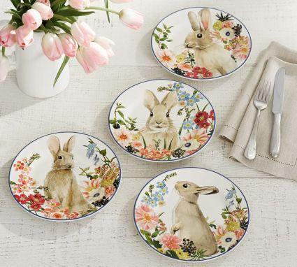 floral-bunny-salad-plate-mixed-set-of-4-o
